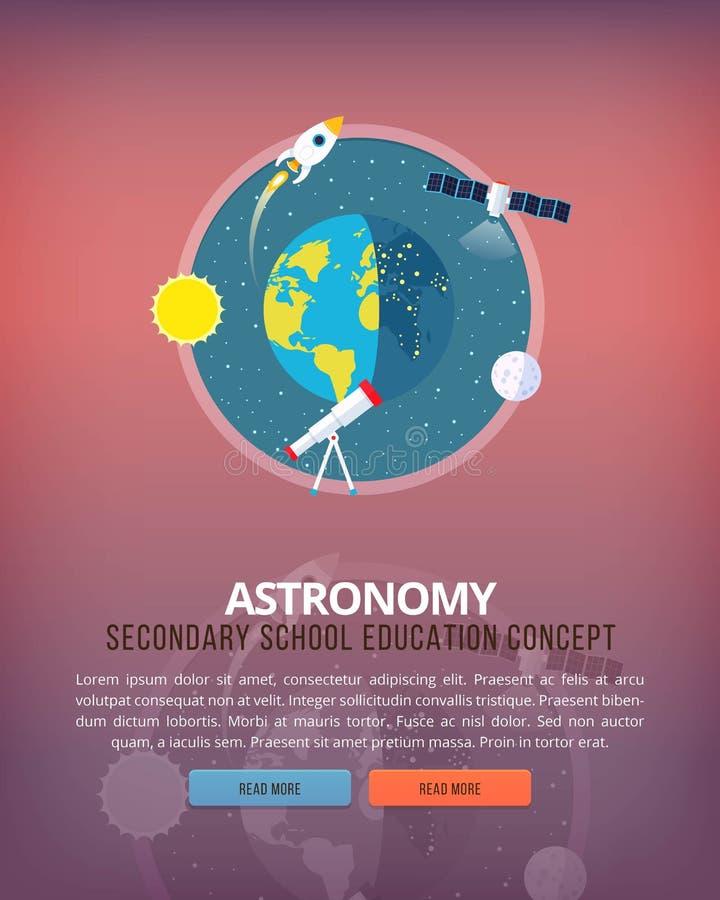 Ilustrações do conceito da educação e da ciência Ciência da estrutura da terra e do planeta Conhecimento da astronomia de ilustração royalty free