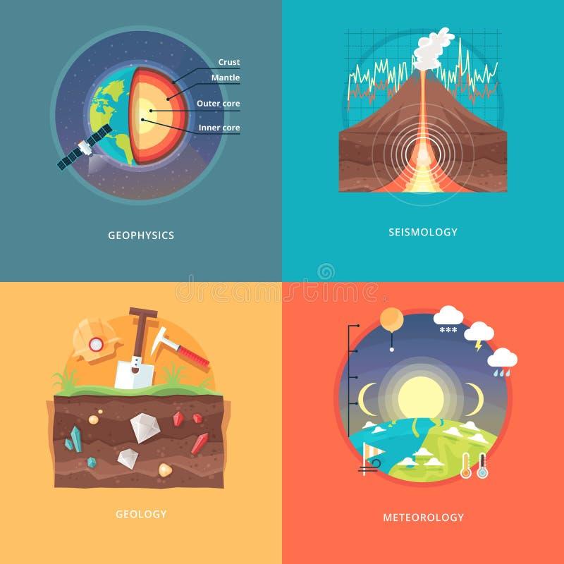 Ilustrações do conceito da educação e da ciência Geofísica, sismologia, geologia, meteorologia ilustração royalty free