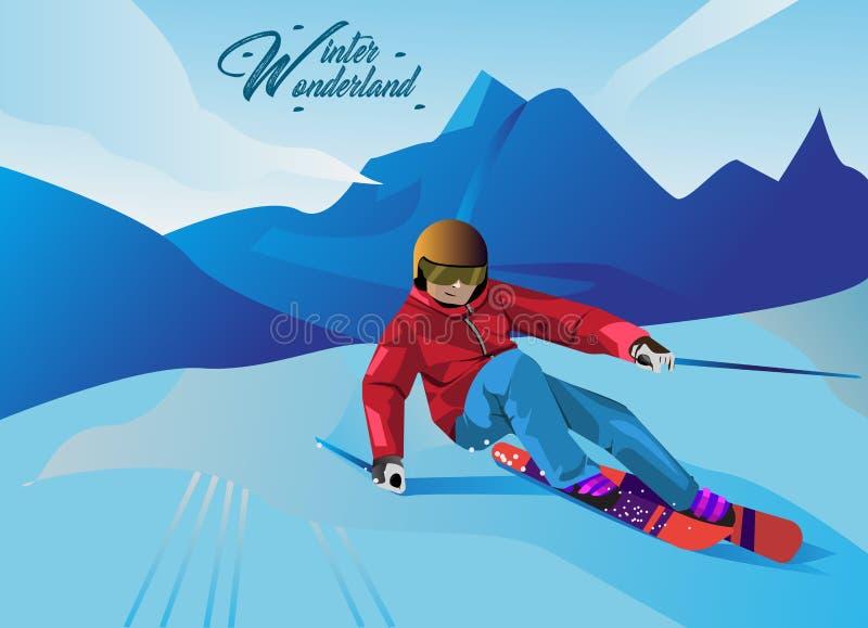 Ilustrações do esporte de inverno no estilo dos desenhos animados do vetor ilustração do vetor