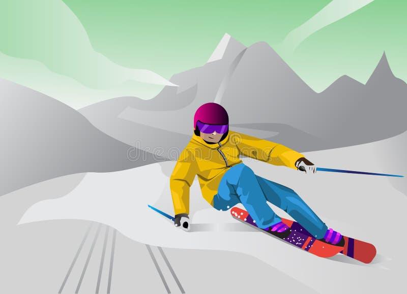 Ilustrações do esporte de inverno no estilo dos desenhos animados do vetor ilustração stock