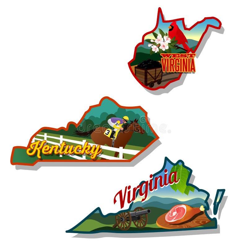 Ilustrações do estado de Kentucky West Virginia e de Virgínia ilustração do vetor