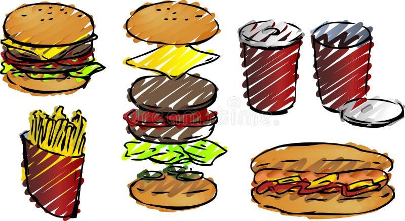 Ilustrações do fast food ilustração do vetor