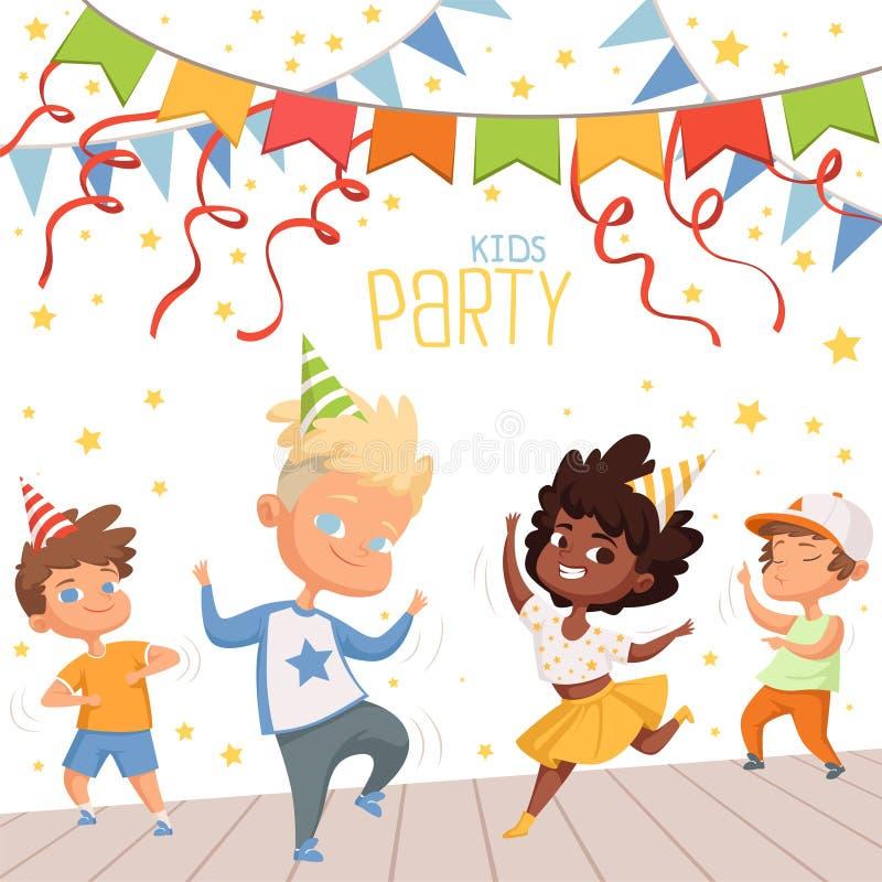 Ilustrações do fundo no dance party das crianças Molde do cartaz para o convite das crianças ilustração do vetor