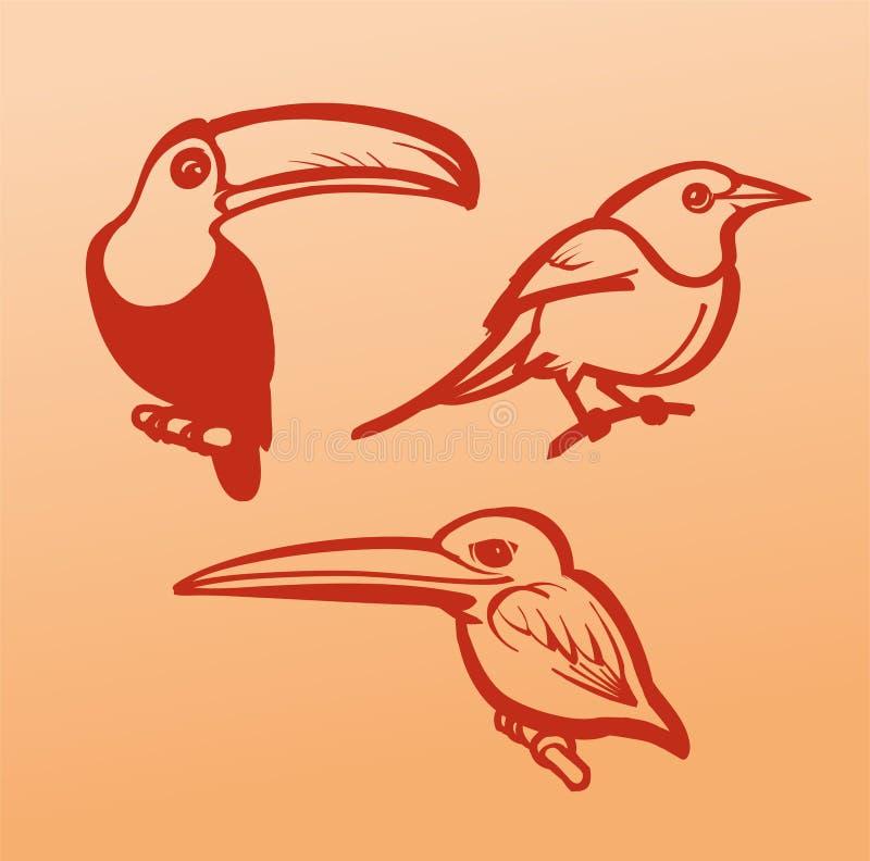 Ilustrações do pássaro do vetor em um fundo alaranjado ilustração do vetor