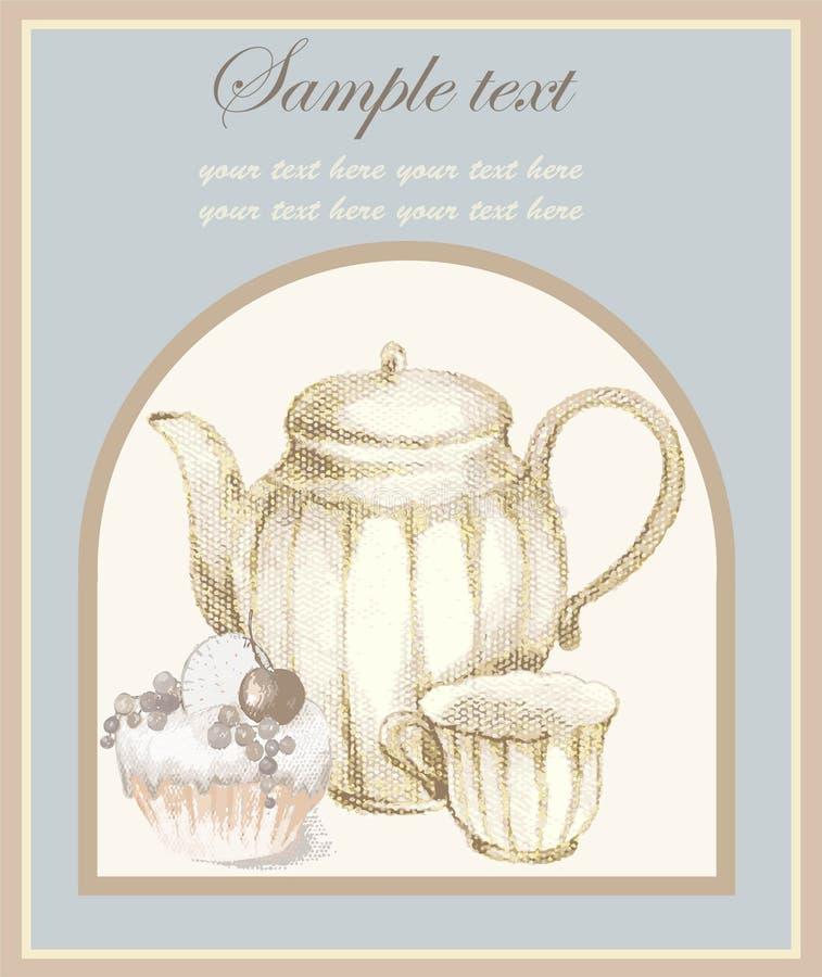 Ilustrações do potenciômetro e do croissant do café e ilustração royalty free