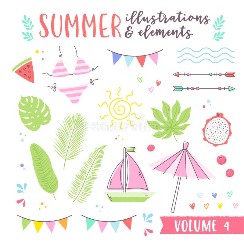 Ilustrações do projeto do verão com elem dos frutos, o tropical e da praia ilustração stock