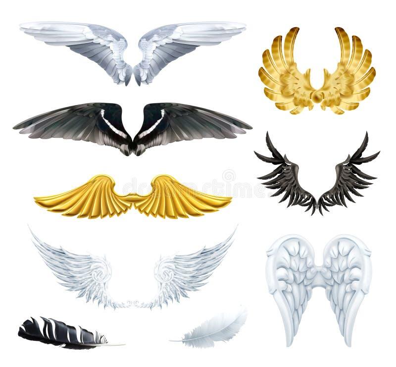 Ilustrações do vetor das asas ilustração royalty free