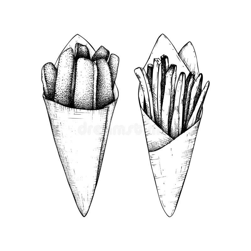 Ilustrações do vetor das batatas fritas Esboço tirado mão de batatas e da galinha fritadas no estilo do vintage ilustração stock