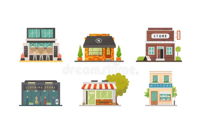 Ilustrações do vetor das construções de loja da loja ajustadas Exterior, restaurante e café do mercado Loja vegetal, farmácia, bo ilustração stock