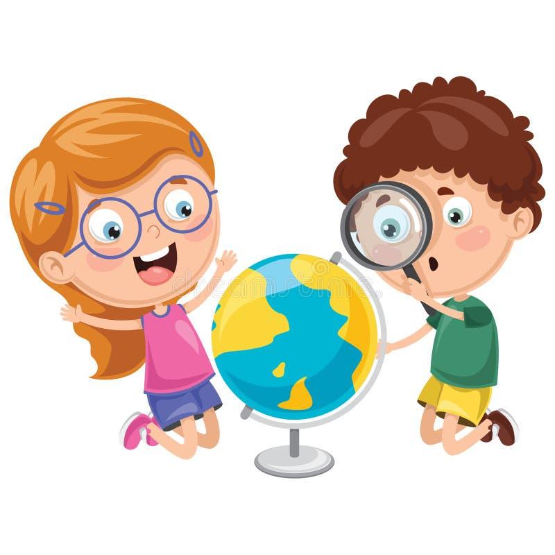 Ilustrações do vetor das crianças que têm a lição da geografia ilustração royalty free
