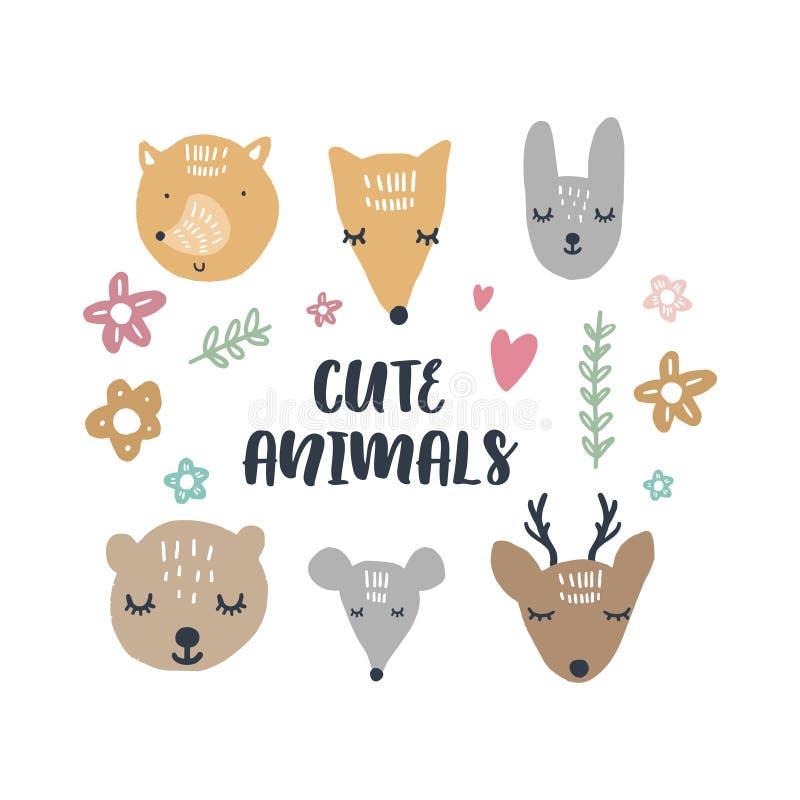 Ilustrações do vetor de animais bonitos, coleção do berçário da floresta ilustração stock