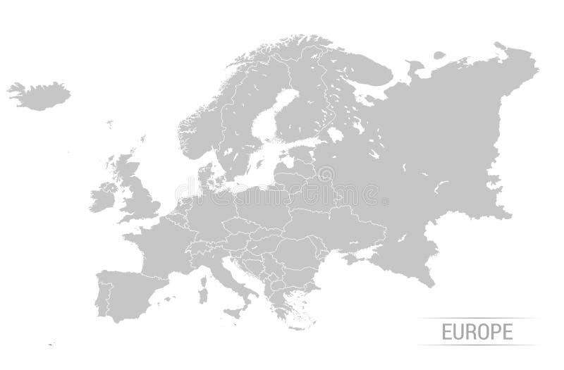Ilustrações do vetor do mapa de Grey Europe ilustração stock