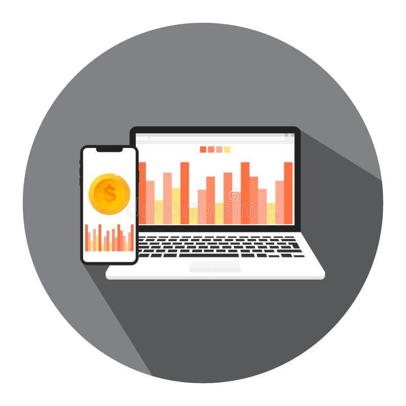 Ilustrações do vetor do negócio em linha, do negócio financeiro e do relatório do dinheiro com o conceito da gestão em linha de f ilustração do vetor