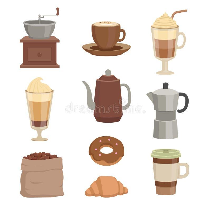 Ilustrações do vetor para o café Vários copos e embarcações pelo tempo do café ilustração stock