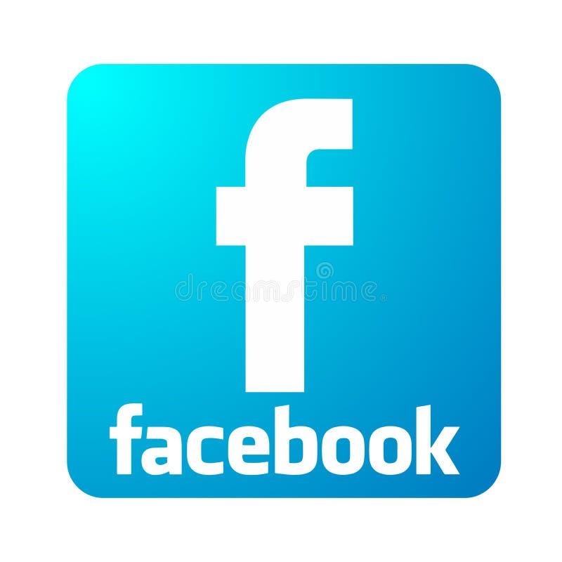 Ilustrações do vetor do texto do facebook do ícone do logotipo de Facebook no fundo branco ilustração royalty free