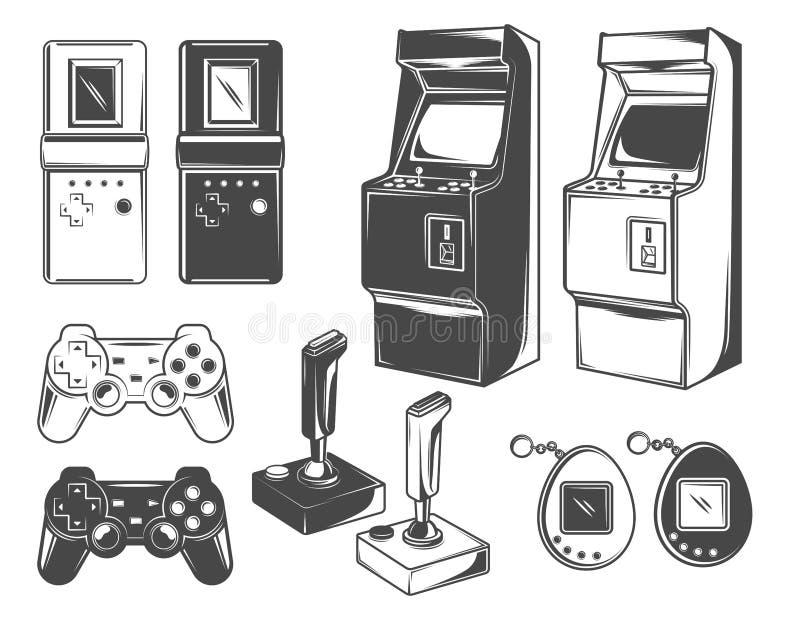 Ilustrações dos jogos do vintage - tetris, máquina da arcada, estação do jogo, tamagotchi ilustração royalty free