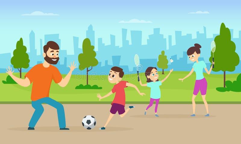 Crianças Que Jogam O Futebol Nos Desenhos Animados Do: Grupo De Pares Da Família Em Atividades Da Aptidão Pais