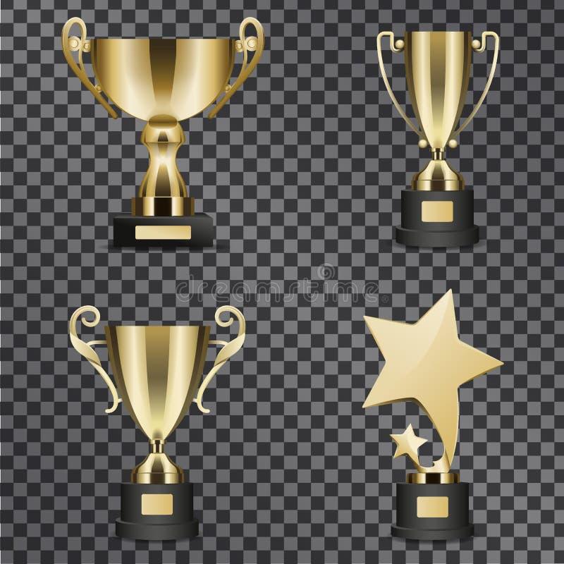 Ilustrações douradas realísticas dos copos do troféu ajustadas ilustração stock