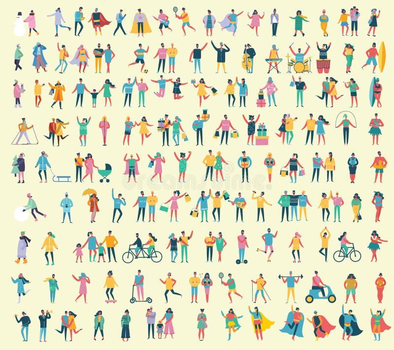 Ilustrações em um estilo liso de povos diferentes das atividades ilustração stock
