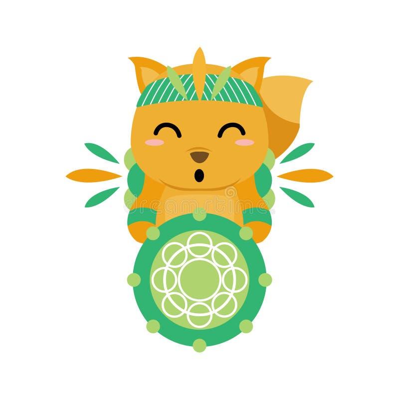 Ilustrações engraçadas da raposa com os ornamento tribais indianos imagem de stock