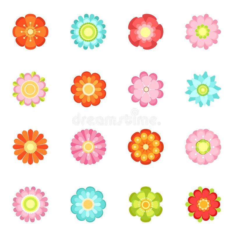 Ilustrações florais bonitos do vetor no estilo liso Grupo de florescência do ícone de 70s ilustração stock