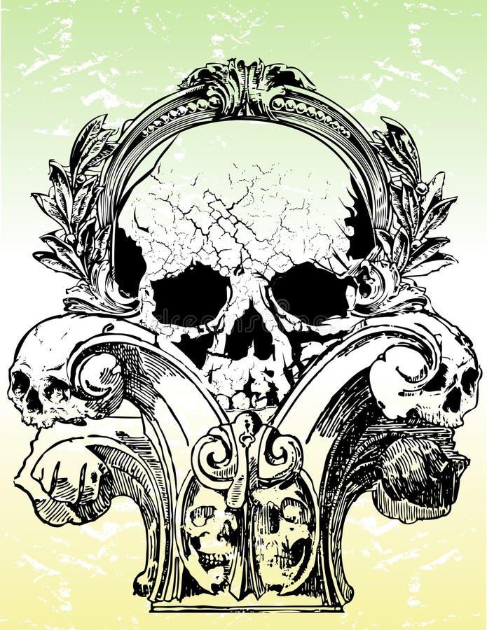 Ilustrações góticos dos crânios ilustração royalty free