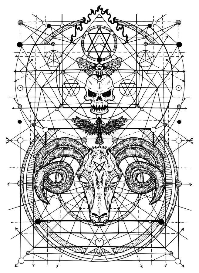 Ilustrações gráficas com símbolos de sinais da morte e do diabo ilustração stock