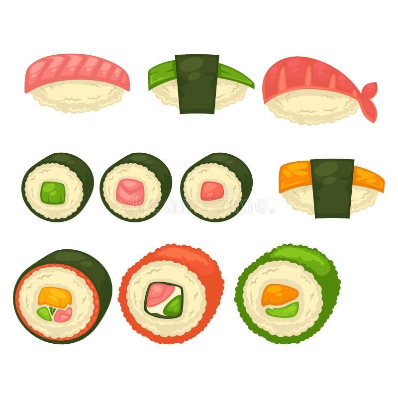 Ilustrações isoladas rolos grandes do sushi e do maci ajustadas ilustração do vetor