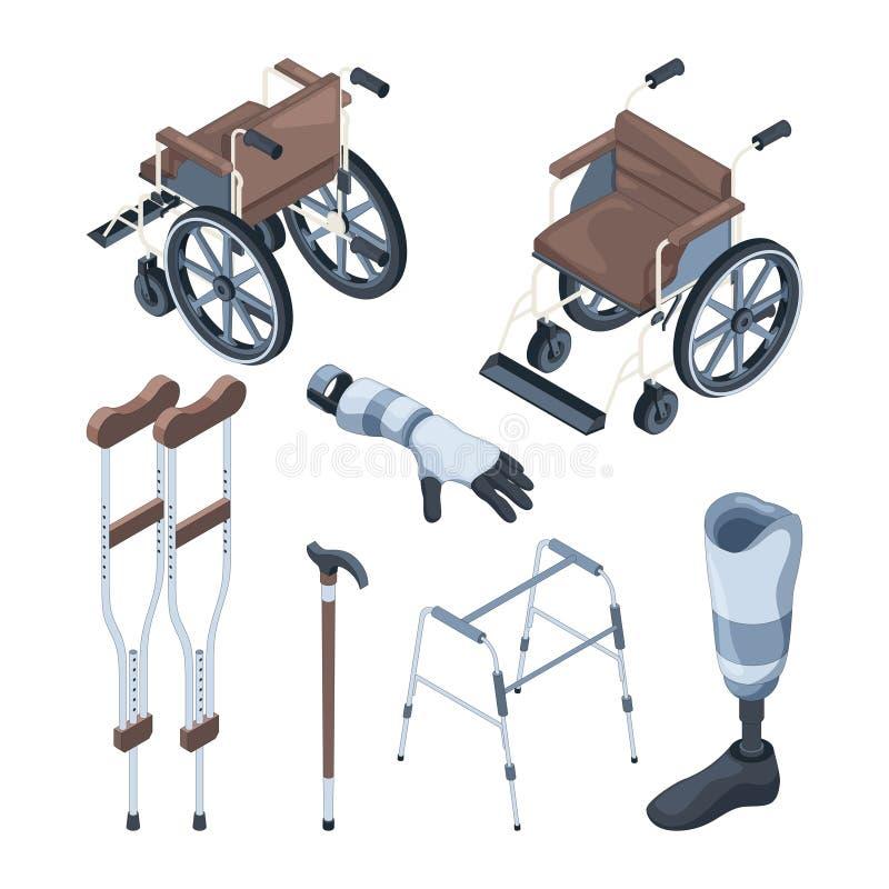 Ilustrações isométricas da cadeira de rodas e de outros vários objetos para povos deficientes ilustração royalty free