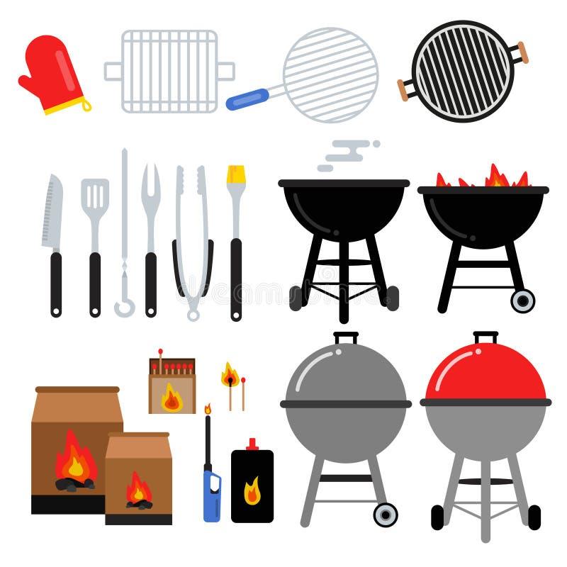 Ilustrações lisas ajustadas para o partido do BBQ Ferramentas diferentes do assado Carne, churrasco, facas ilustração royalty free
