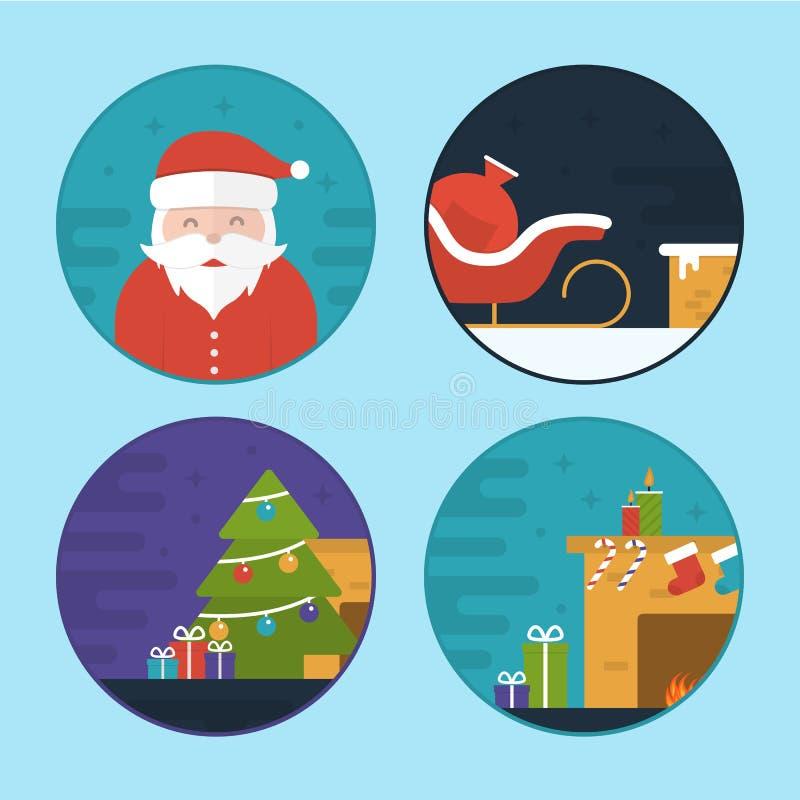 Ilustrações lisas da cena do Natal do vetor ilustração royalty free