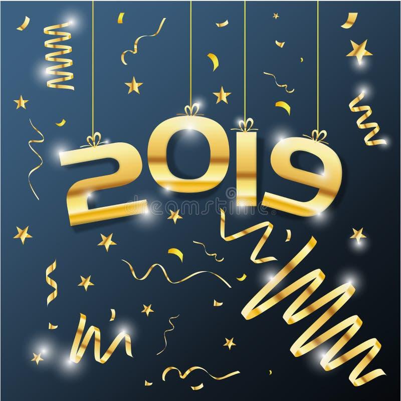Ilustrações luxuosas do projeto do vetor do ano novo feliz do texto 2019 do vetor dourado ilustração do vetor