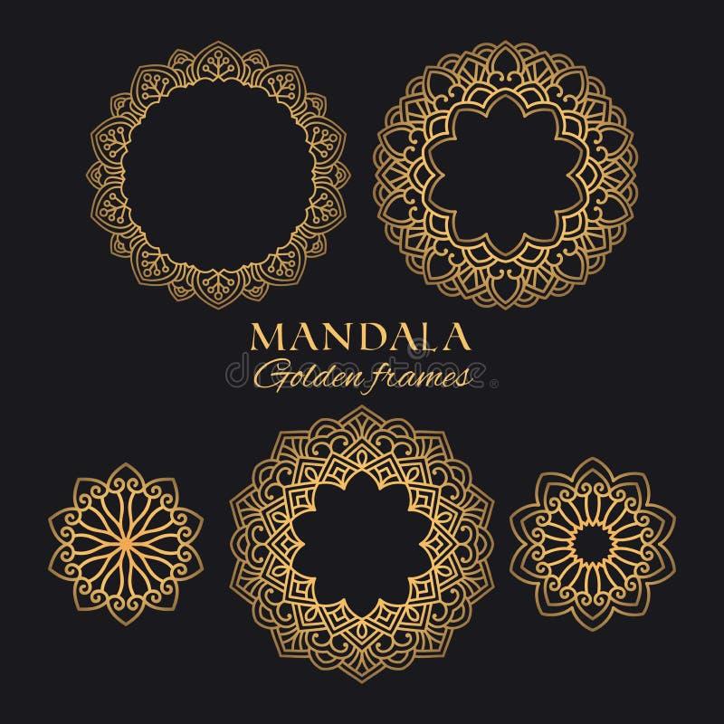 Ilustrações luxuosas do vetor da mandala ajustadas Ornamento decorativos e quadros do círculo dourado ilustração royalty free