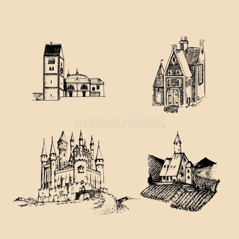 Ilustrações medievais das paisagens do vetor ajustadas Entregue esboços tirados da igreja, da abadia, do castelo etc. nos campos  ilustração royalty free