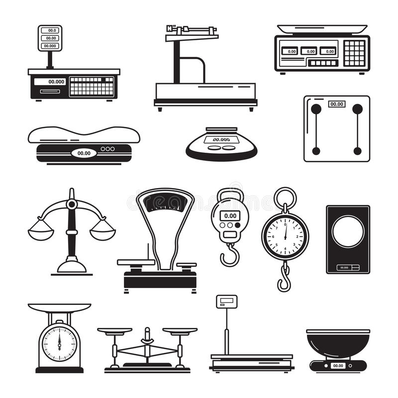 Ilustrações monocromáticas das escalas Visualização de ferramentas do equilíbrio ilustração royalty free