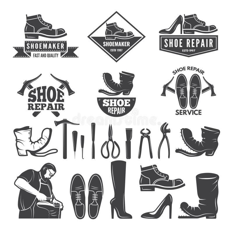 Ilustrações monocromáticas de várias ferramentas para o reparo da sapata Etiquetas ou logotipos para a fábrica da roupa ilustração stock