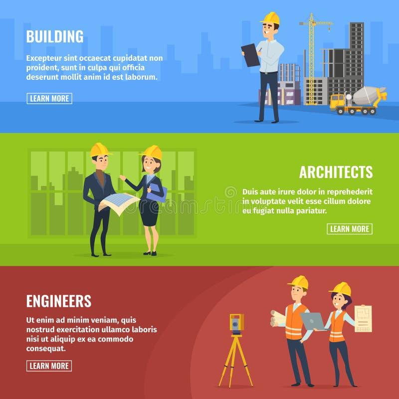 Ilustrações para bandeiras de arquitetos e de coordenadores dos construtores ilustração stock
