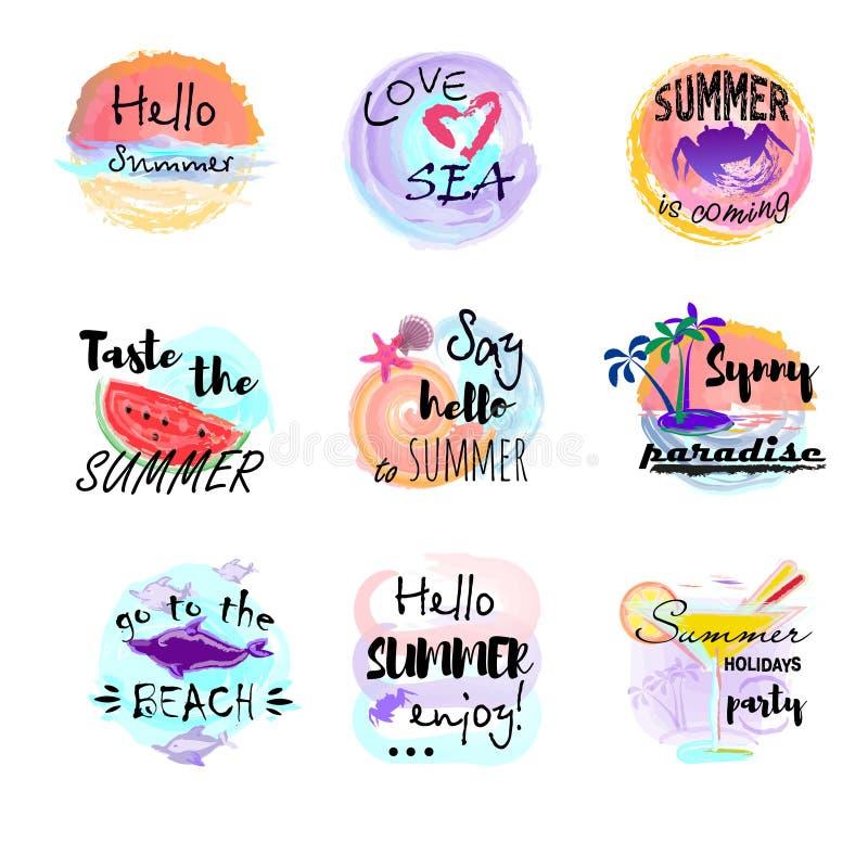 Ilustrações para a tela, cópias do vetor do cartaz Os logotipos do verão, as etiquetas e o grupo de elementos tirados mão, etique ilustração do vetor