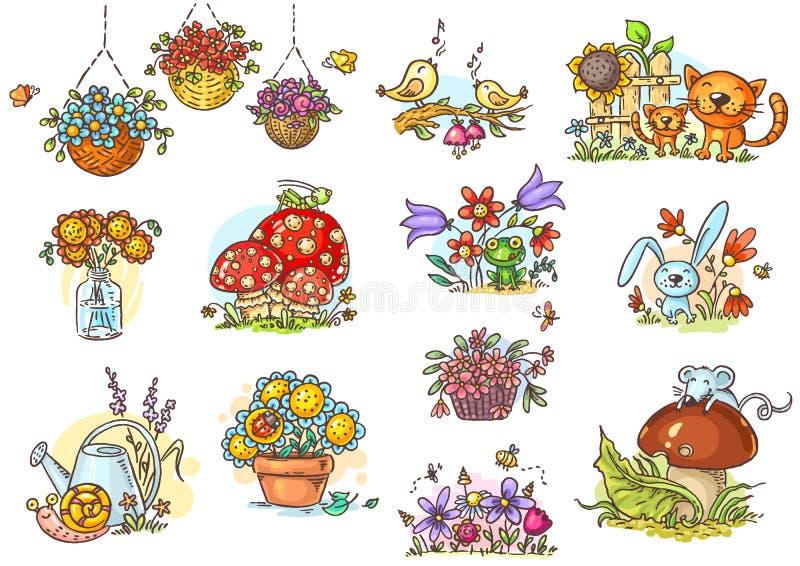 Ilustrações pequenas e simples dos desenhos animados com animais e flores ilustração royalty free