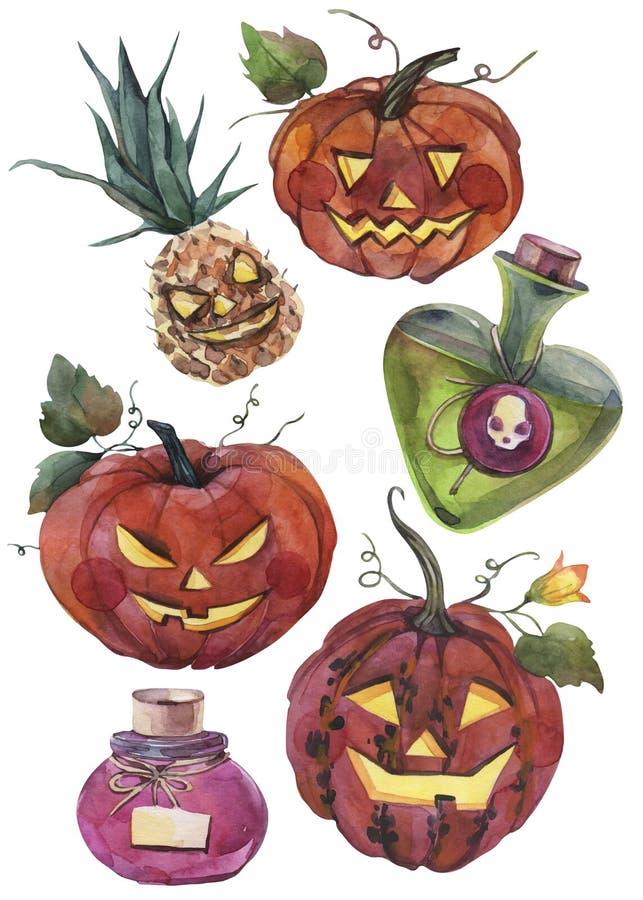 Ilustrações pintados à mão da aquarela Grupo de elementos e de objetos de Dia das Bruxas ilustração royalty free