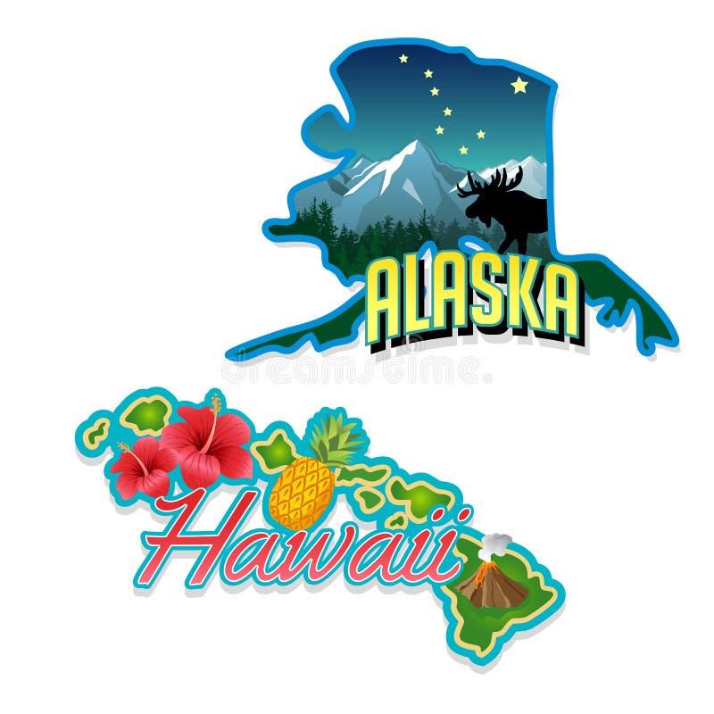 Ilustrações retros dos fatos do estado de Alaska, Havaí ilustração royalty free