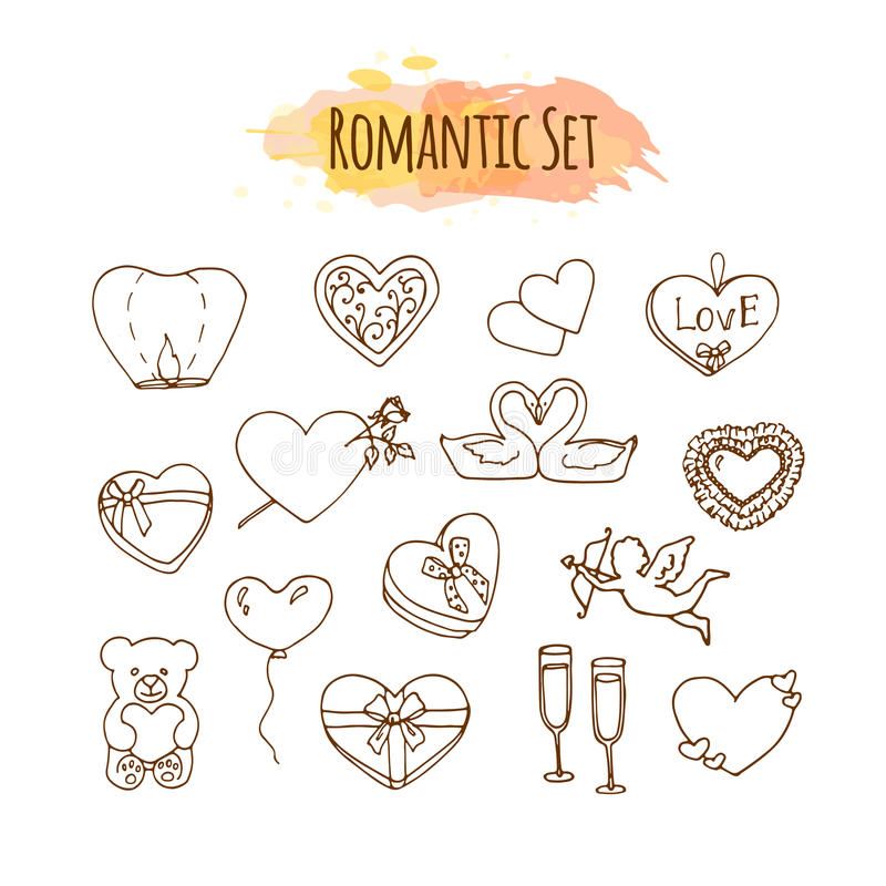 Ilustrações românticas Grupo tirado mão do casamento Elementos do estilo da garatuja para o dia de são valentim feliz ilustração stock