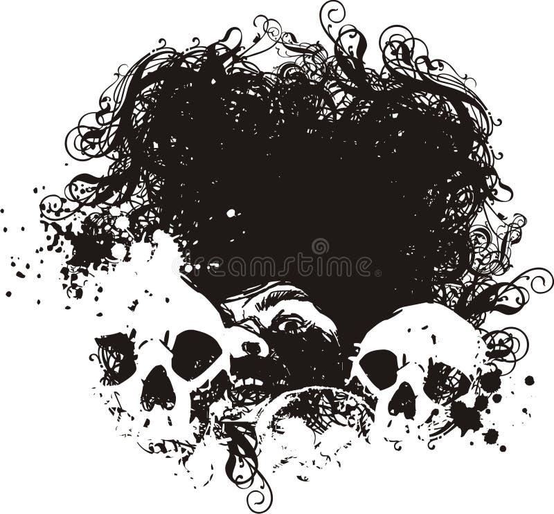 Ilustrações Scared dos crânios. ilustração do vetor