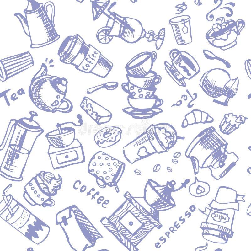 Ilustrações sem emenda do vintage do ornamento do vetor do café imagem de stock royalty free