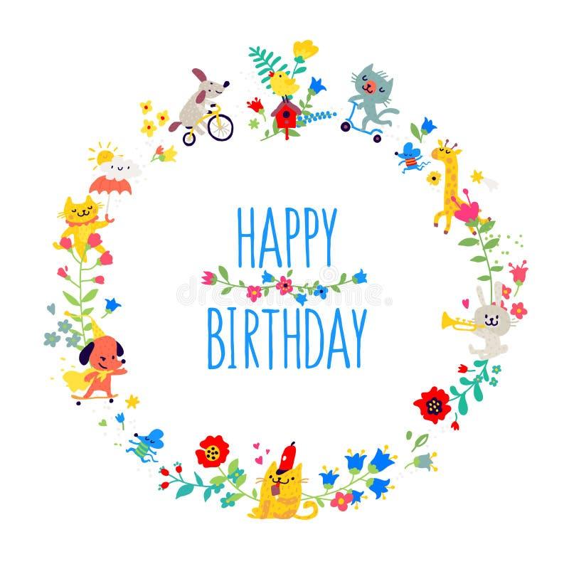 Ilustrações sob a forma de uma grinalda redonda Vetor Os animais entre as flores felicitam-no em seu aniversário ` S das crian?as ilustração royalty free