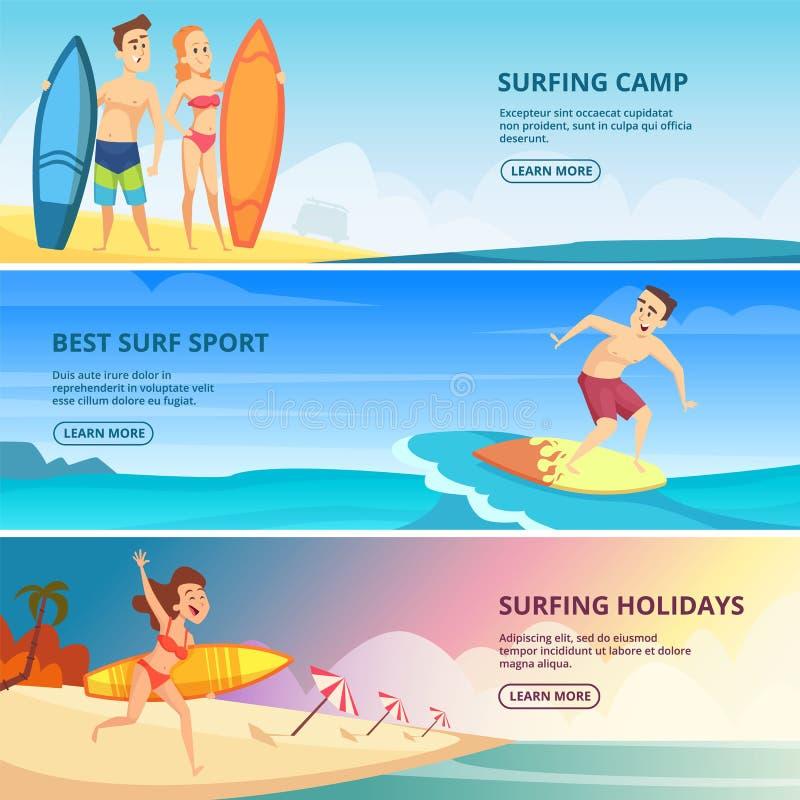Ilustrações surfando das bandeiras Moldes do projeto do vetor dos povos dos surfistas ilustração royalty free