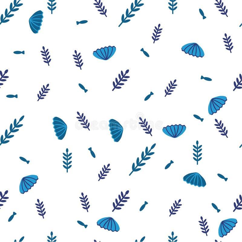 Ilustrações tiradas do vetor do fundo mão marinha - teste padrão sem emenda de conchas do mar e de algas azuis Estilo da garatuja ilustração stock