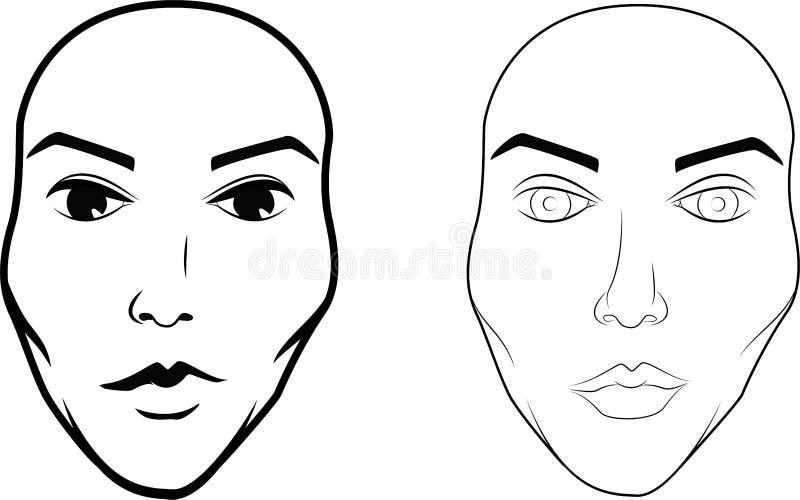 Ilustrações tiradas e escritas da cara bonita do ` s da mulher fotografia de stock