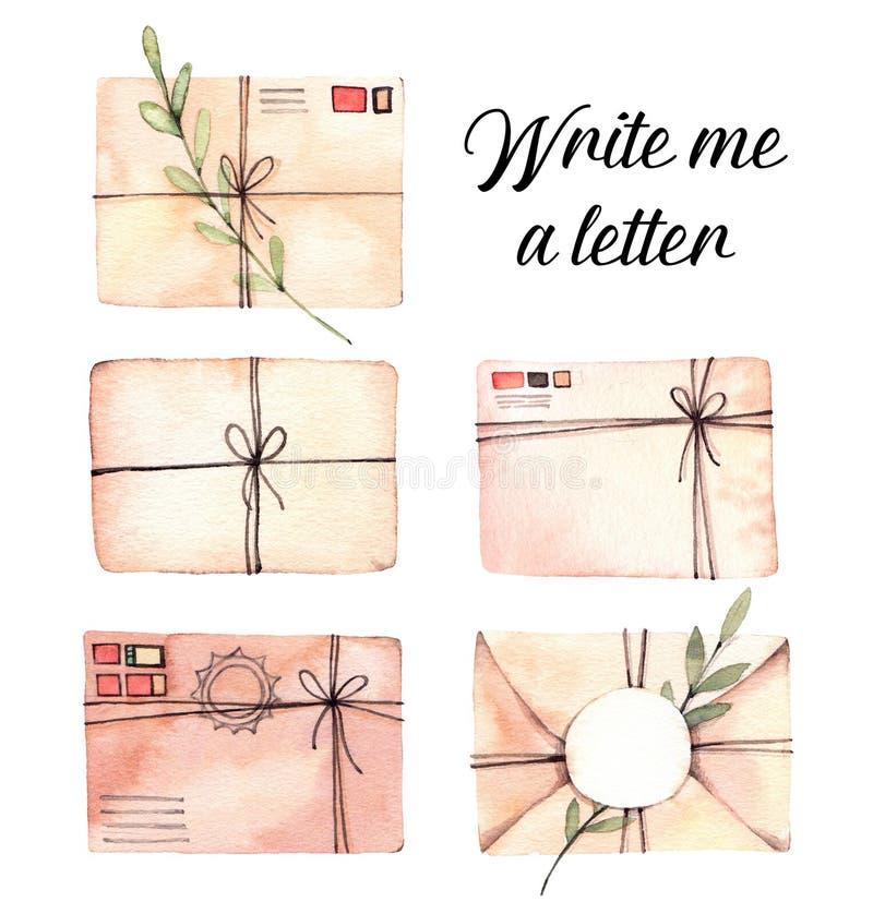 Ilustrações tiradas mão da aquarela Grupo de envelopes com flora ilustração do vetor