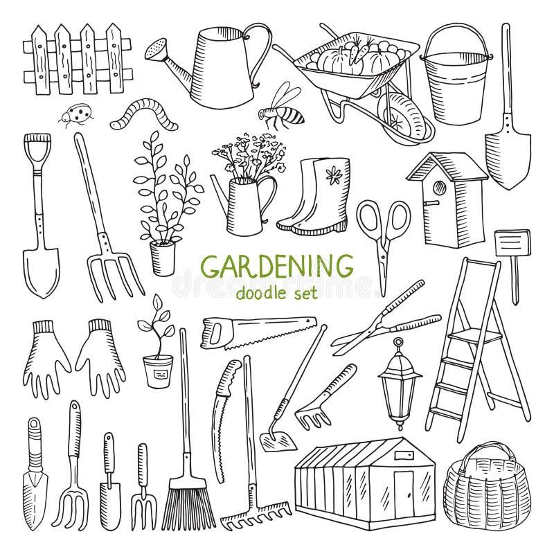 Ilustrações tiradas mão do vetor da jardinagem Grupo de elementos diferente da garatuja para o trabalho do jardim ilustração stock